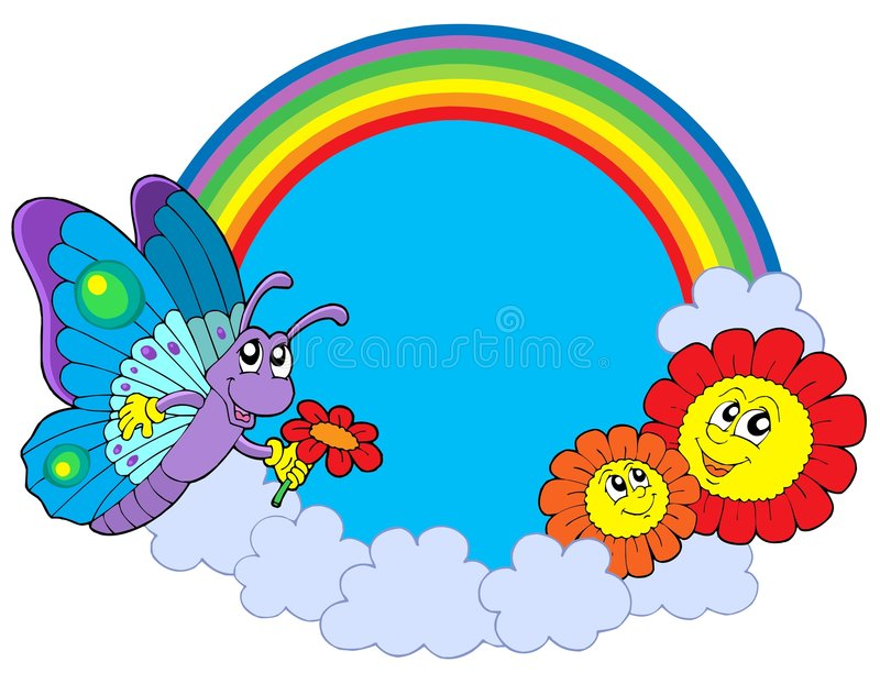 Download Rainbow Circle With Butterfly And Flowers Stock Photography - Image: 7846692