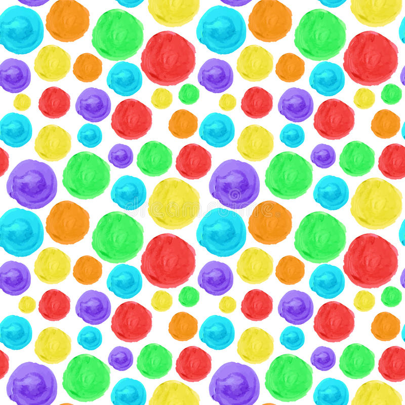 Rainbow circle seamless background. Artistic watercolor texture. royalty free illustration