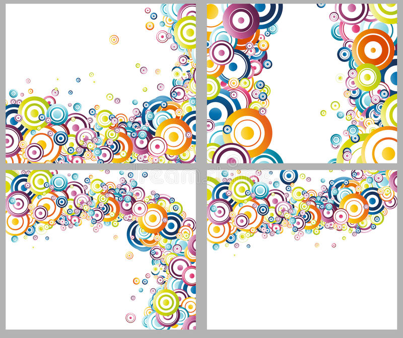 Rainbow circles backgrounds collection vector illustration