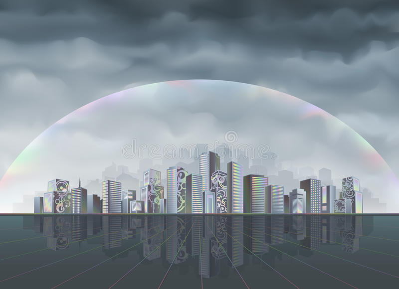 Download Rainbow city stock vector. Image of exterior, colors - 10015888