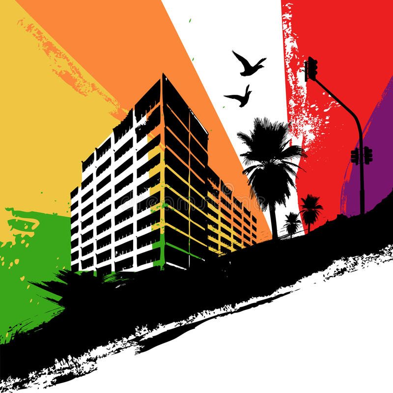 Rainbow city stock illustration