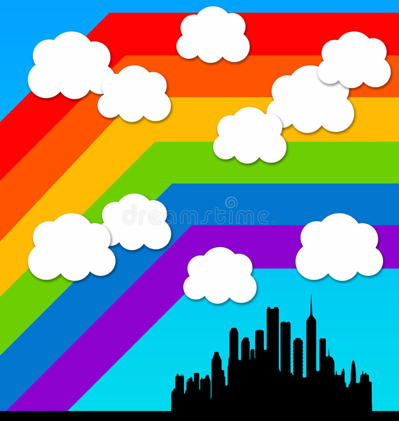 Rainbow City Stock Photography