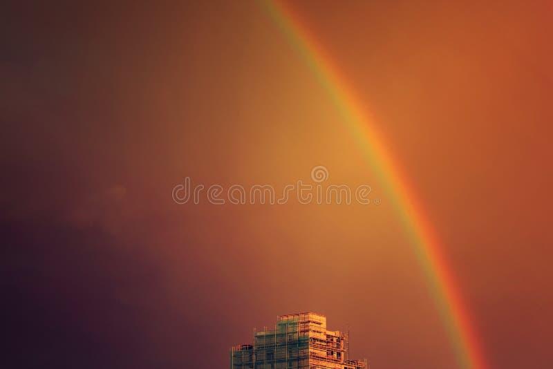 Rainbow in the city royalty free stock photo