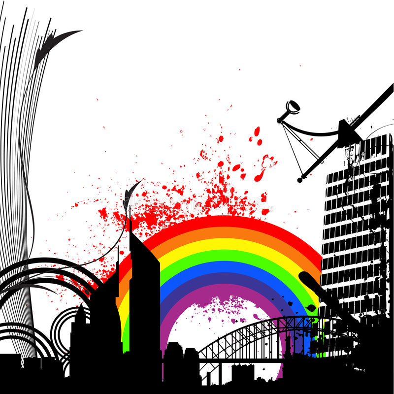 Rainbow city vector vector illustration