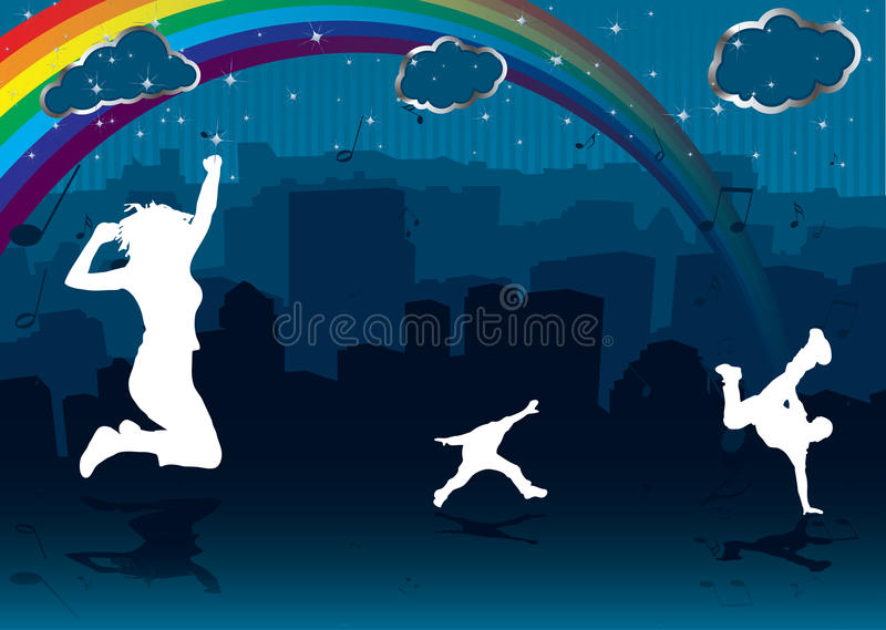 Download Rainbow cityscape stock vector. Image of arch, note, reflection - 10974776
