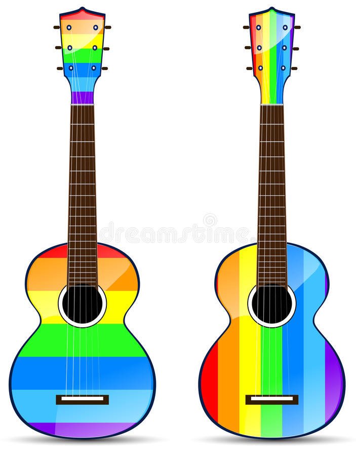 Rainbow classical acoustic. Set of rainbow classical acoustic guitar isolated on white background royalty free illustration
