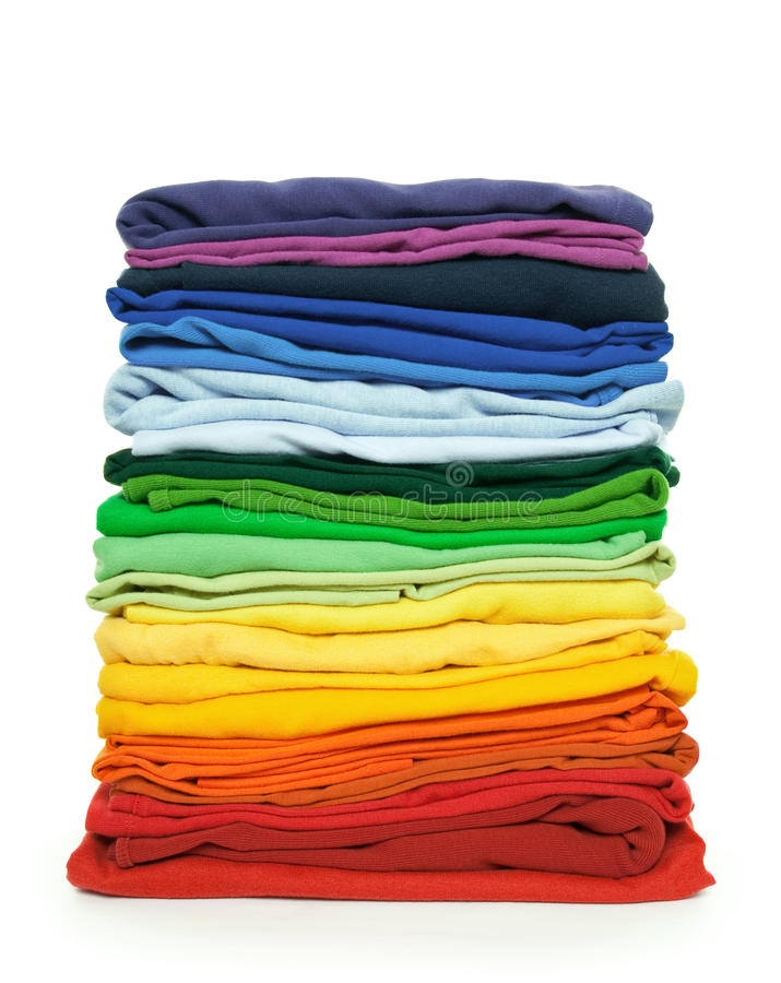 Rainbow clothes pile