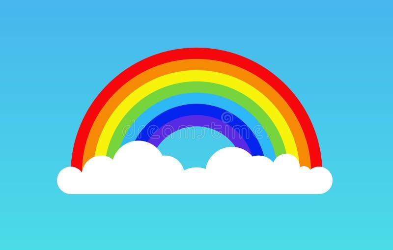 Rainbow cloud icon illustration. Rainbow background isolated sky design cartoon clipart.  royalty free illustration