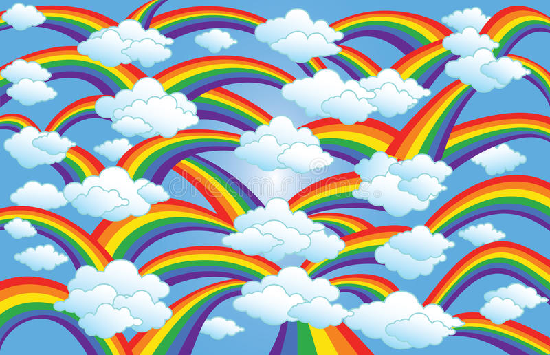 Download Rainbow & Clouds Art stock vector. Image of promise, weather - 22447943