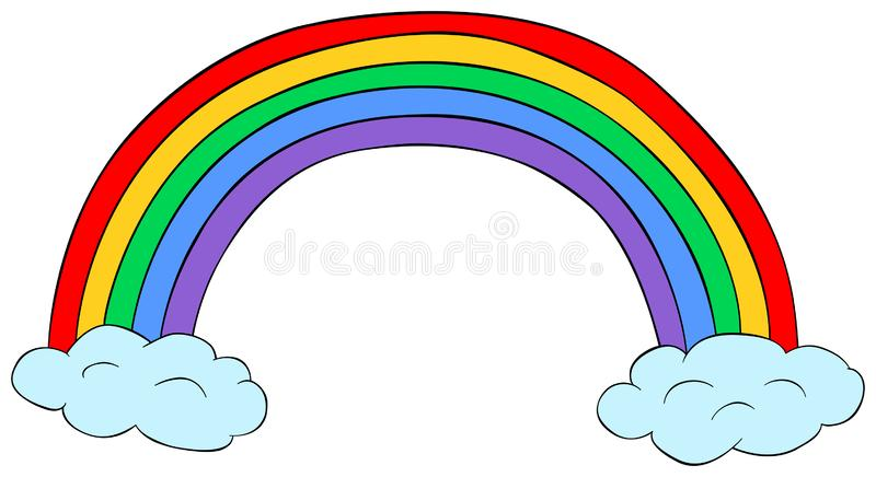 Rainbow with clouds clipart. Vector illustration. Rainbow with clouds clipart. Cartoon vector illustration royalty free illustration