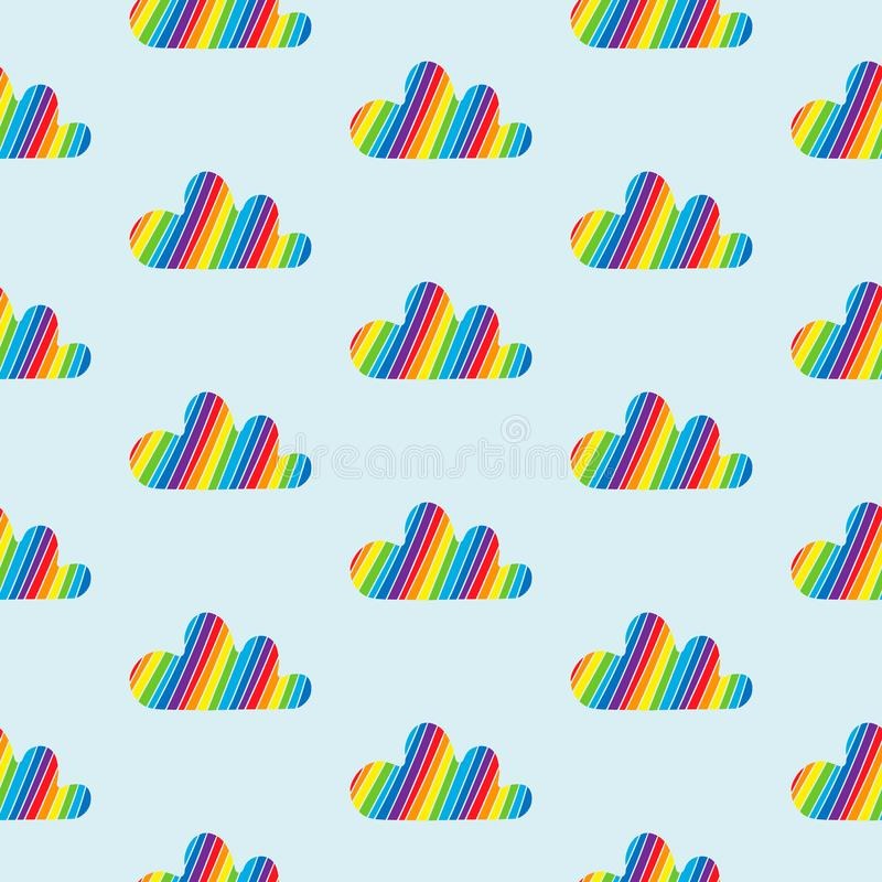 Rainbow clouds colorful stripes hand drawn seamless pattern royalty free illustration