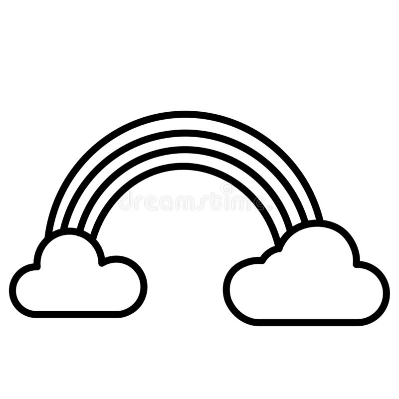 Rainbow and Clouds Icon Vector vector illustration