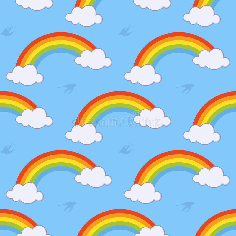 Rainbow and Clouds Seamless Pattern royalty free illustration