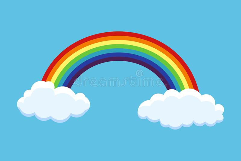 Rainbow with clouds vector illustration isolated on blue background. Vector royalty free illustration