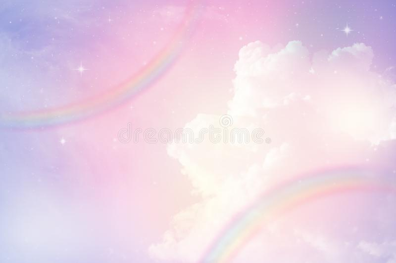 Rainbow in cloudy sky royalty free stock image