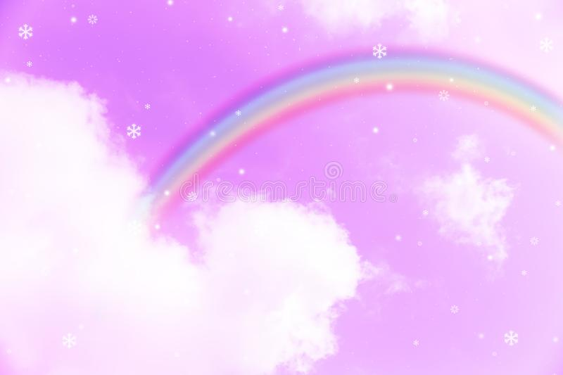 Rainbow in cloudy sky stock image