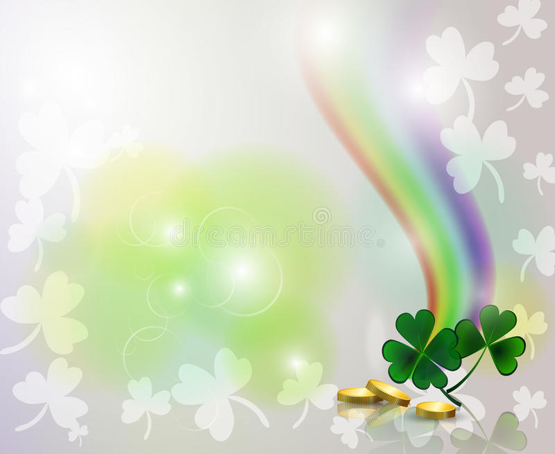 Rainbow and clover with golden coins on background stock illustration