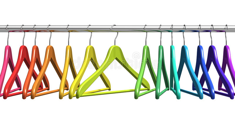 Rainbow coat hangers on clothes rail. Row of color rainbow coat hangers on metal shiny clothes rail isolated on white background vector illustration