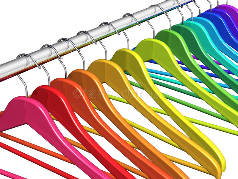 Rainbow coat hangers on clothes rail. Row of color rainbow coat hangers on metal shiny clothes rail isolated on white background stock illustration