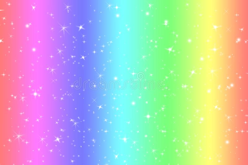 Rainbow color abstract background with soft light stars presented background of dream concept on sweet content. The rainbow color royalty free illustration