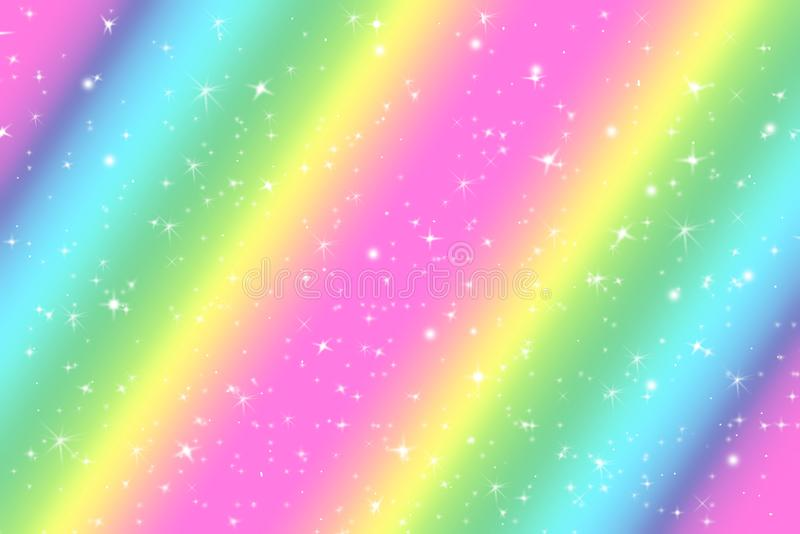 Rainbow color abstract background with soft light stars presented background of dream concept on sweet content. The rainbow color vector illustration