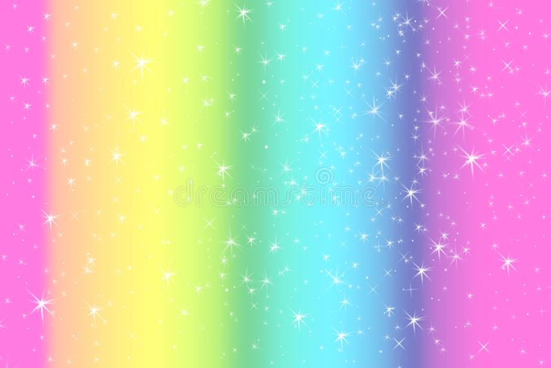 Rainbow color abstract background with soft light stars presented background of dream concept on sweet content. The rainbow color. Spread direction all around stock illustration