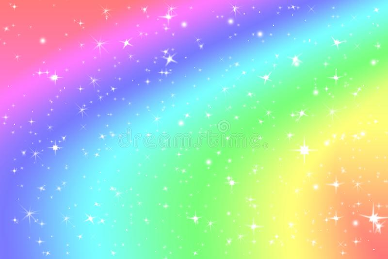 Rainbow color abstract background with soft light stars presented background of dream concept on sweet content. The rainbow color stock illustration