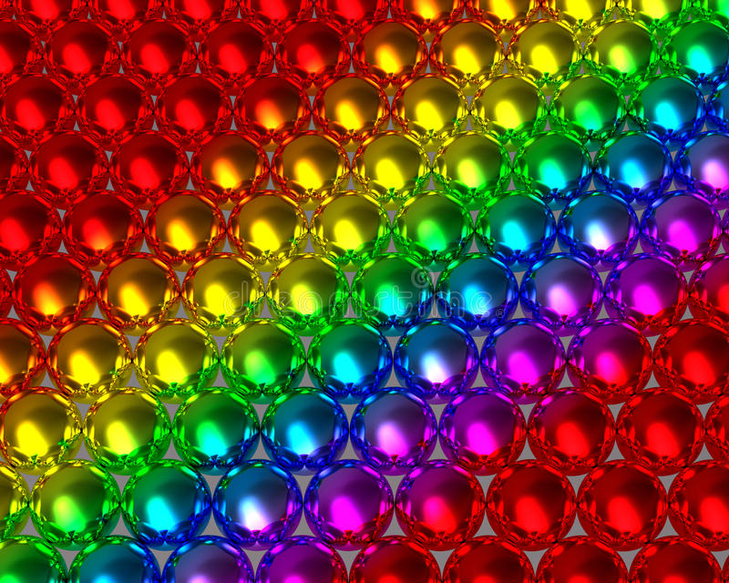 Rainbow color balls reflective background royalty free stock images