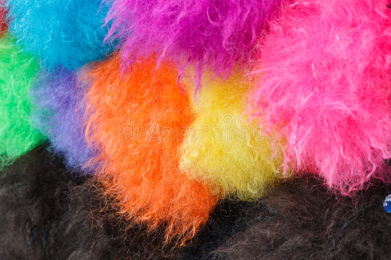 Rainbow color clown wig curly abstract object royalty free stock images