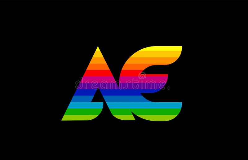 Rainbow color colored colorful alphabet letter ae a e logo combination. Design suitable for a company or business vector illustration