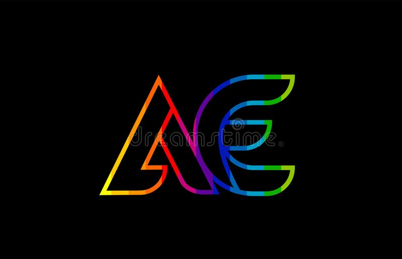 Rainbow color colored colorful alphabet letter ae a e logo combination. Design suitable for a company or business royalty free illustration