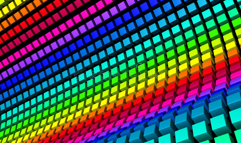 Rainbow color cubes royalty free stock image