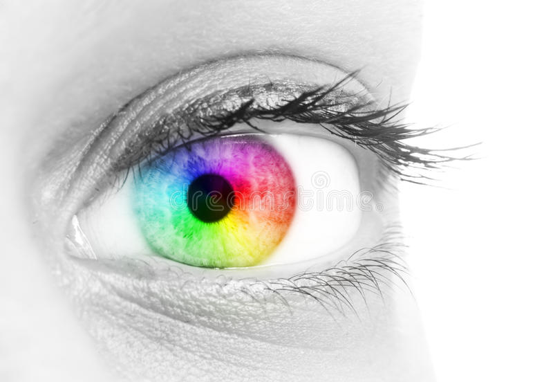 Rainbow color in the eye of a beautiful woman stock photos