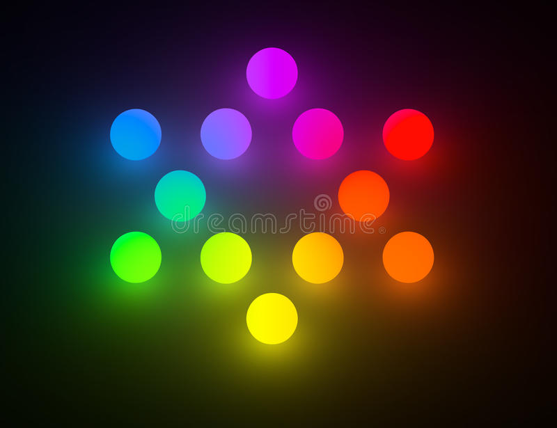 Rainbow color glowing balls Star of David stock illustration