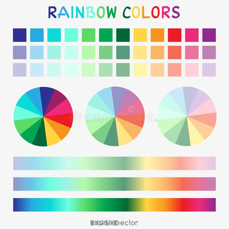 Rainbow color gradient template. Thirty six rainbow color vector gradient template for design royalty free illustration