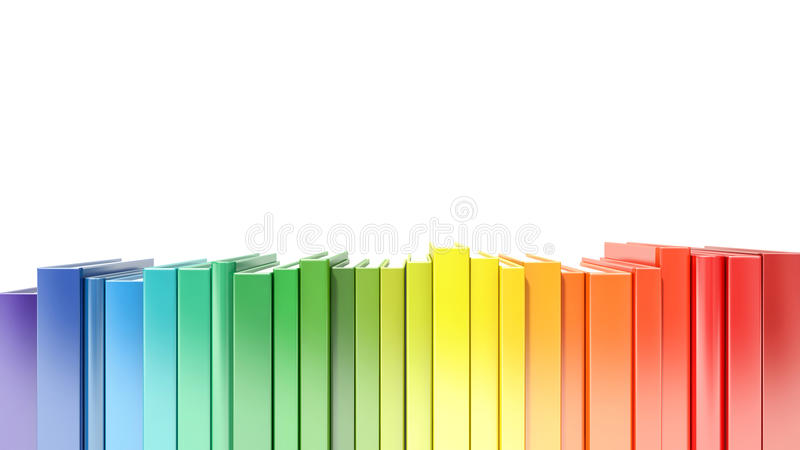 Rainbow color hardcover books isolated on white background royalty free illustration