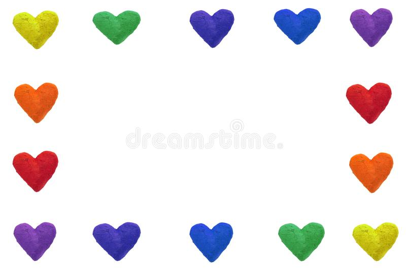 Rainbow color hearts. Handmade paper hearts in rainbow colors, isolated on white background royalty free illustration