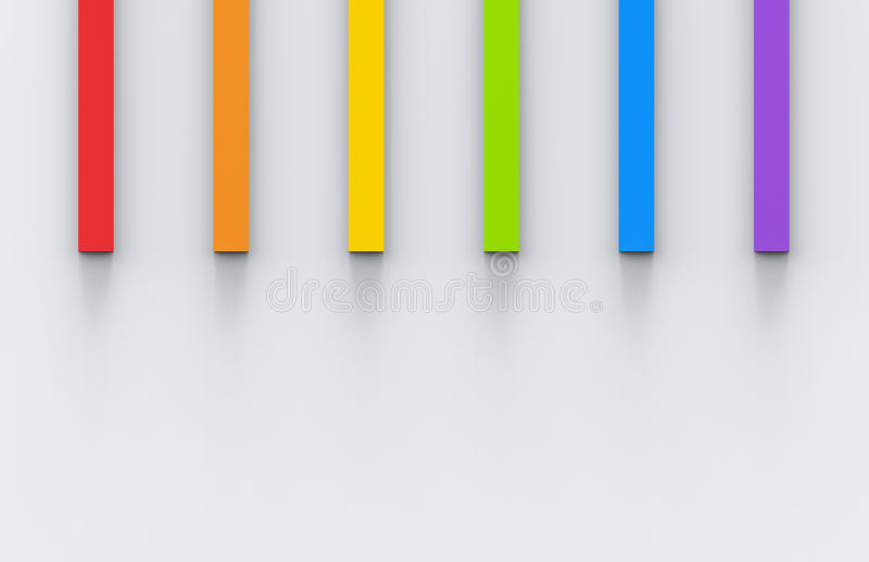 Rainbow color long cubes on the gray wall background royalty free illustration