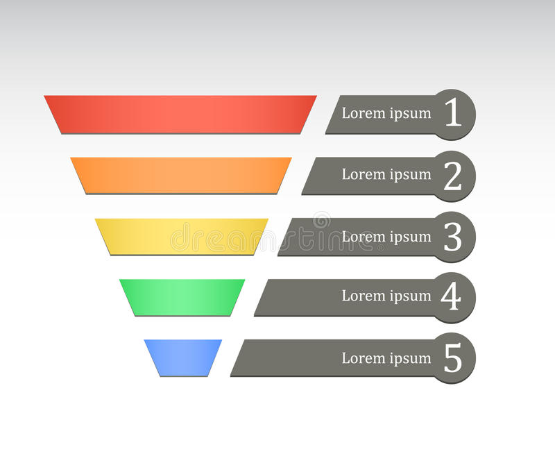Rainbow color marketing funnel stock illustration
