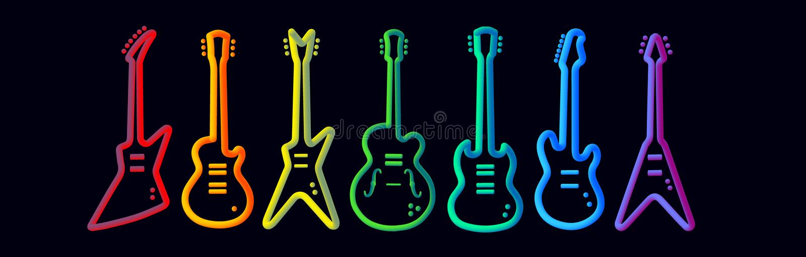 Rainbow color musical instruments neon tubed silhouette abstract design concept rock band performance royalty free illustration