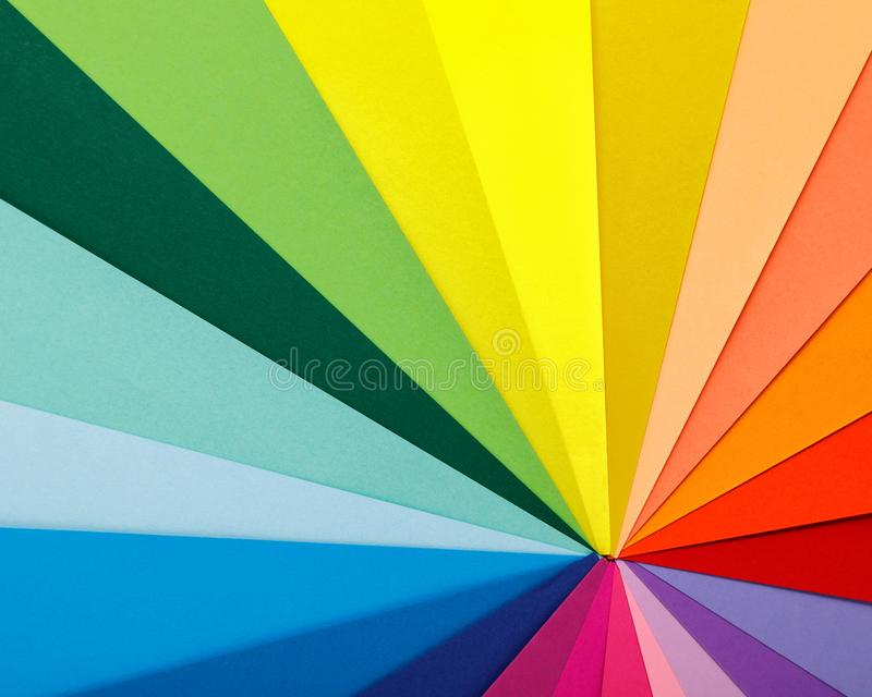 Rainbow color palette. Sheets of colored paper stock photo