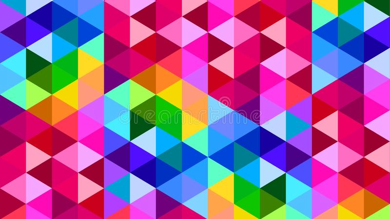 Rainbow Color Polygonal Triangle Background Pattern Design stock illustration
