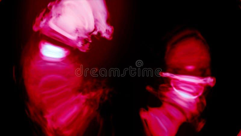 Rainbow red smoke flowing in a circle black. Smoke in circular motion. Separated on pure black background. Rainbow color smoke flowing in a circle black. Smoke stock photo