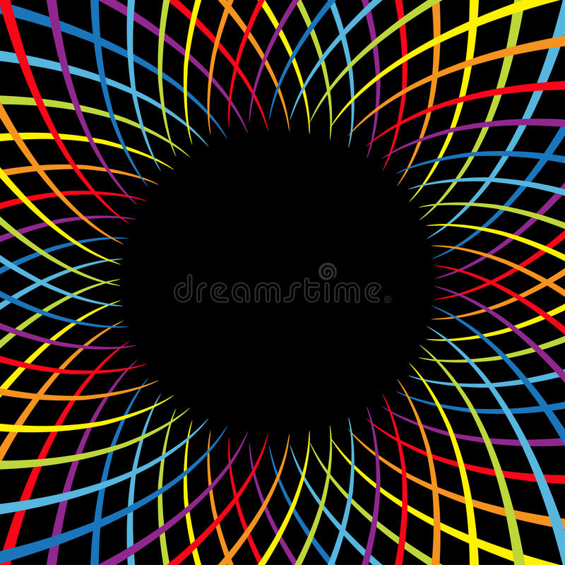 Rainbow color spiral flower speed. Colorful swirl movement bright line set. Round circle glowing template. Sunburst, starburst sha. Pe. Black abstract background royalty free illustration