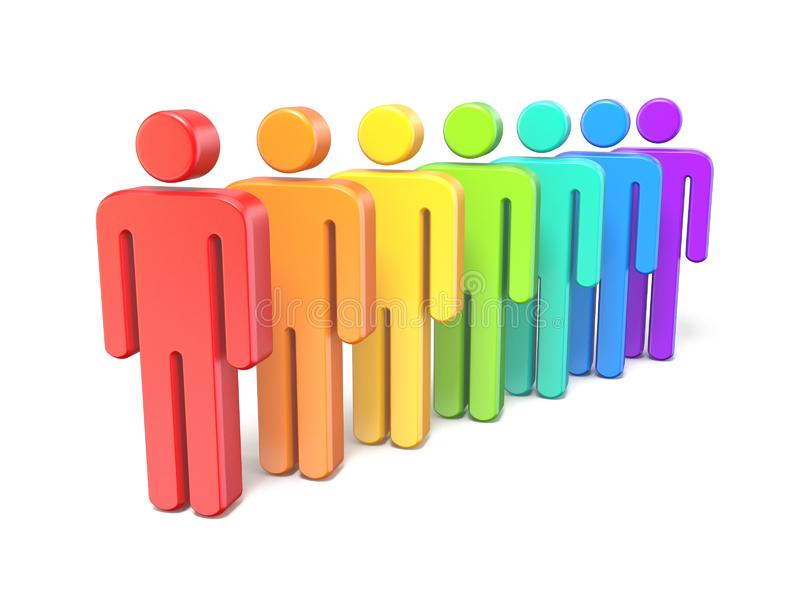 Rainbow colored abstract figures in a row 3D. Render illustration isolated on white background royalty free illustration