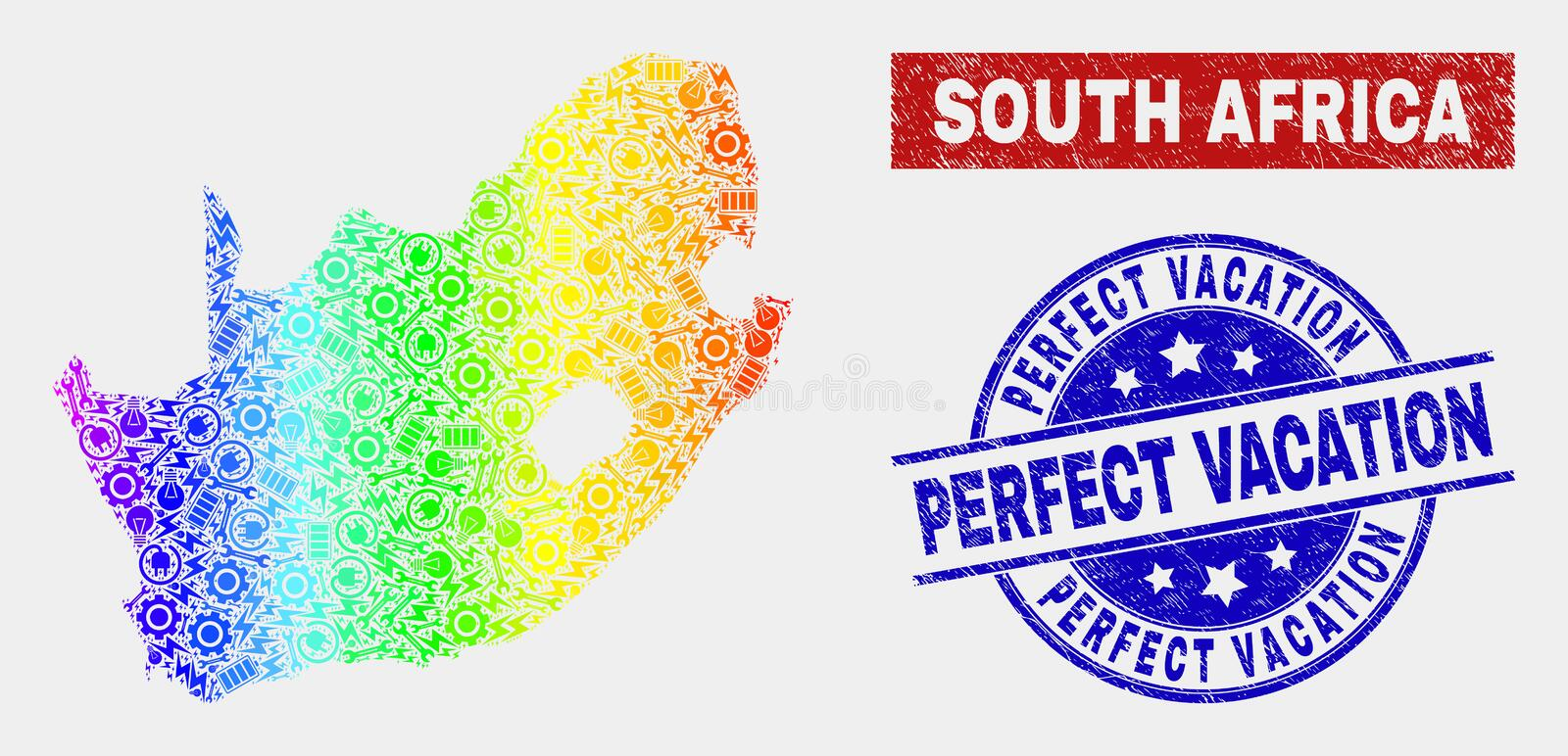 Rainbow Colored Assemble South African Republic Map and Scratched Perfect Vacation Seals. Factory South African Republic map and blue Perfect Vacation grunge vector illustration