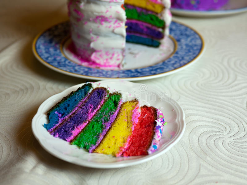 Rainbow colored cake honoring the same sex marriage recognition. Rainbow colored cake honoring the Pride Weekend and the US Supreme Court decision to support royalty free stock photography