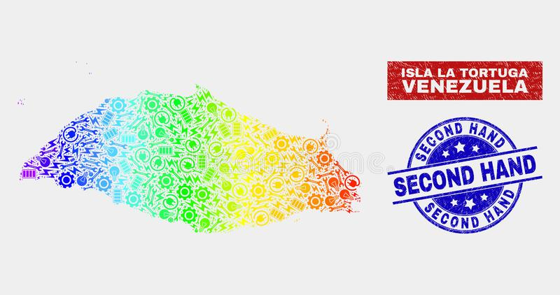 Rainbow Colored Component Isla La Tortuga Map and Grunge Second Hand Watermarks vector illustration