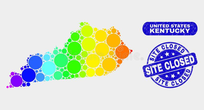 Spectral Mosaic Kentucky State Map and Scratched Site Closed Stamp. Rainbow colored dot Kentucky State map and rubber prints. Blue round Site Closed scratched vector illustration