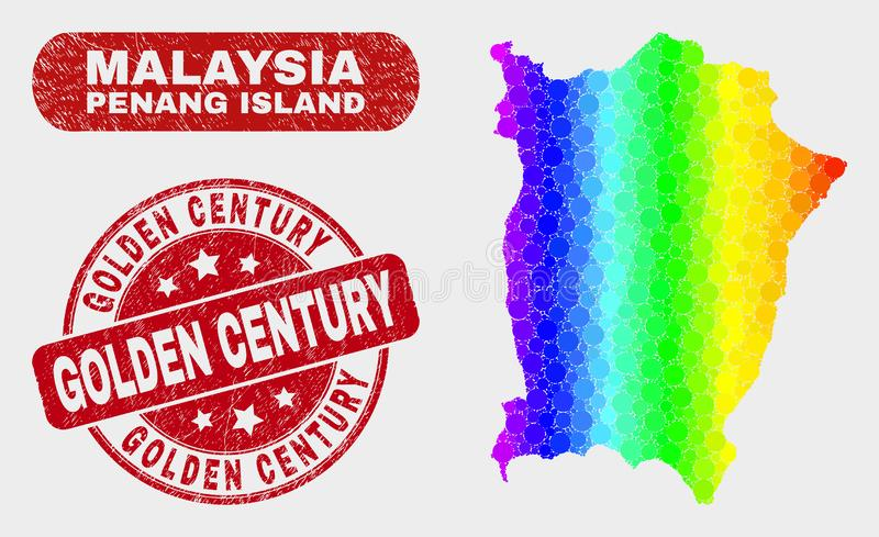 Colored Mosaic Penang Island Map and Grunge Golden Century Stamp. Rainbow colored dot Penang Island map and seals. Red rounded Golden Century textured stamp vector illustration